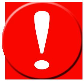Uwaga - wykrzyknik na czerwonym polu