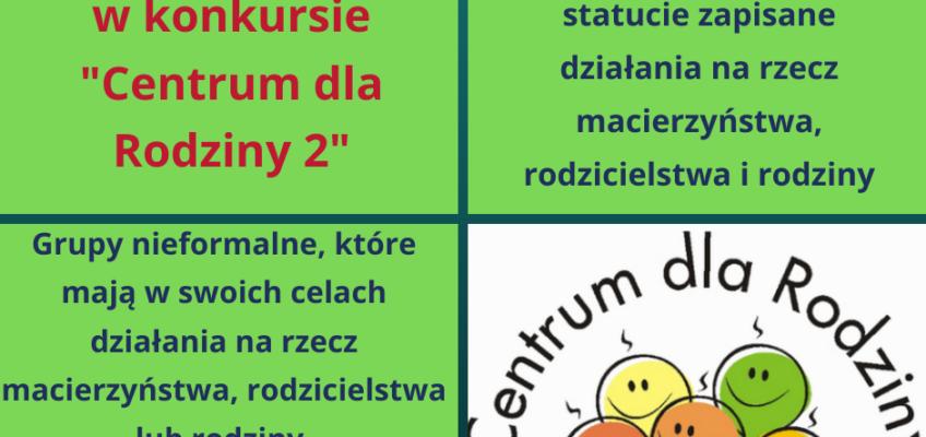 Infografika kto może złożyć wniosek w konkursie Centrum Dla Rodziny 2