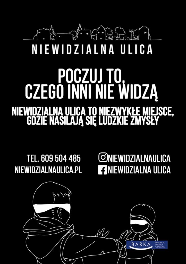 Ulotka niewidzialnej ulicy w Poznaniu. Na czarnym tle biały napis z zaproszeniem